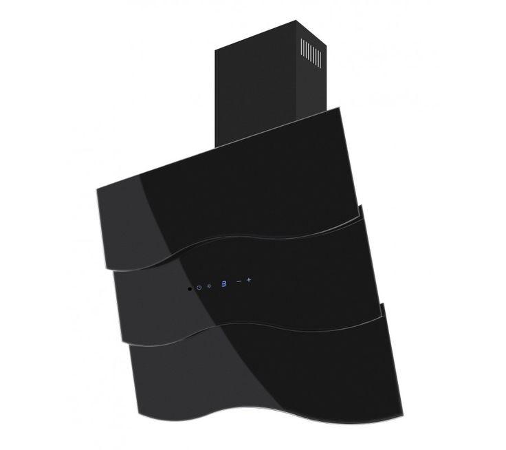 Vägghängd köksfläkt Wave vit/svart  glas 60/80/90cm