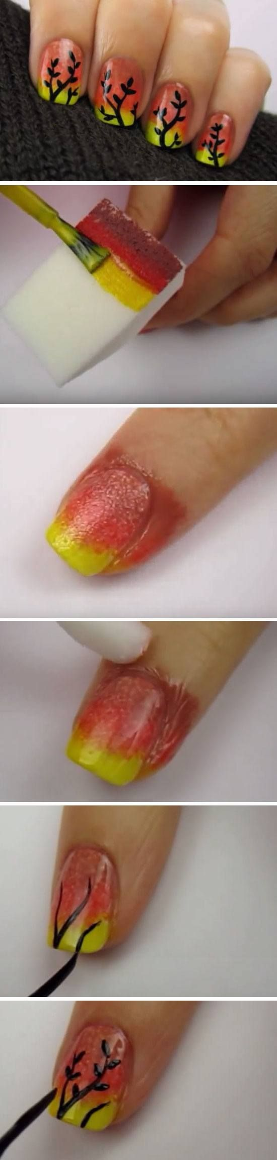 Autumn Ombre Nail Art | Easy Fall Nail Designs for Short Nails