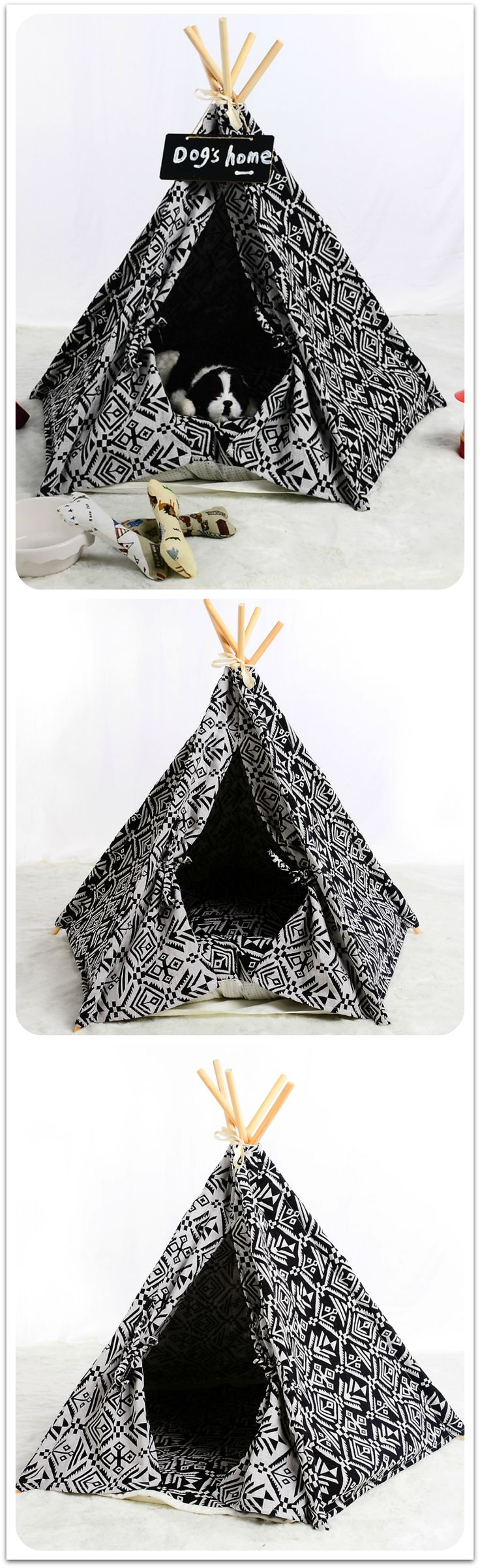 || FREE SHIPPING || Funky, fun tribal prints are showing up everywhere from the runways to the interior designs of luxury homes. Now, your pet can get in on the latest trend and enjoy a relaxing nap in the Black and White Dog Teepee – Tribal Chic! This whimsical cat and dog teepee features a tribal print outside and in with black-on-white and white-on-black patterned panels that catch the eye while still keeping the look of the tipi neutral to suit any color scheme.