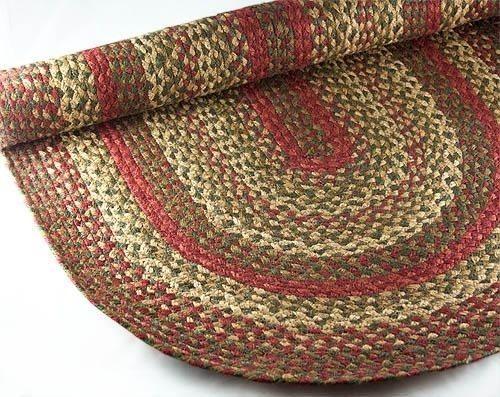 Braided Rug, Pip Berry Red Green Tan Country Primitive 5u0027x8u0027 Oval #