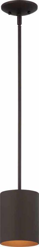 """Volume Lighting V9605 1 Light Outdoor 6.75"""" Height Pendant with Metal Cylinder S Antique Bronze Outdoor Lighting Pendants"""