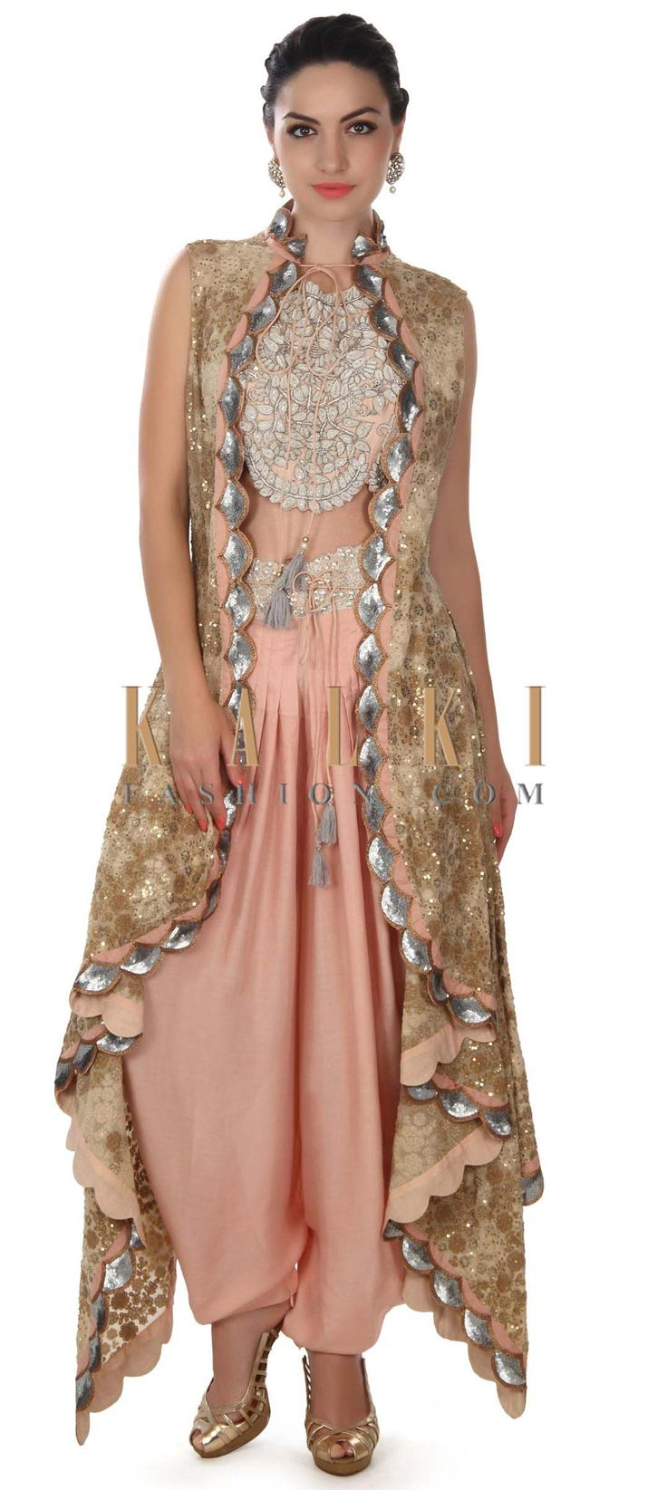 Featuring fancy crop top with embellished jacket only on Kalki