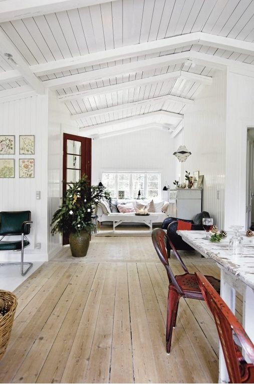 Whitewashed pine wood floors