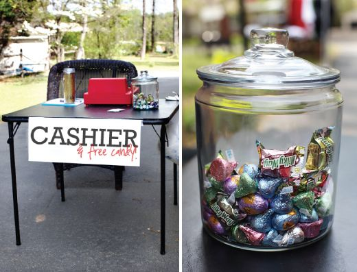 """Yard Sale Tips -- run an extension cord outside, have grocery bags ready, keep expensive items on """"cashier's table,"""" etc. (via Seventh House on the Left)"""