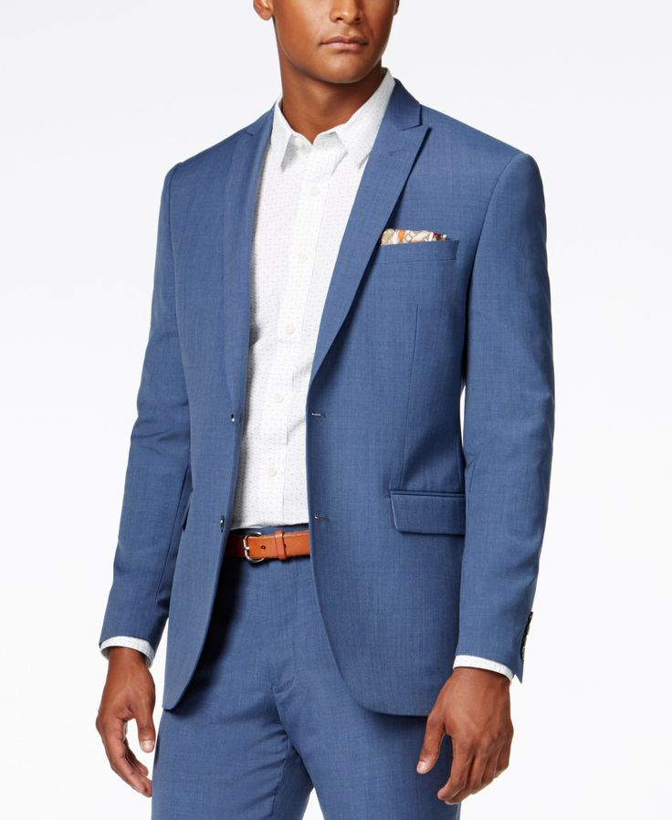 Bar Iii Men S Dusty Blue Solid Slim Fit Jacket Created