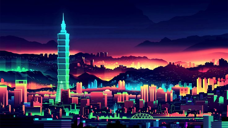 Neon digital art Taipei, Taiwan wallpaper  #Futuristic #Neon #digital #art #illustration of #Taipei, #Taiwan. #wallpaperstudio10 #cityscape #colorful #tower