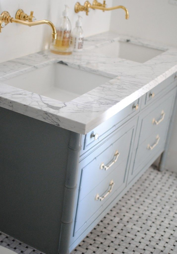 bathroom gray dresser vanity gold hardware marble counters under mount sinks