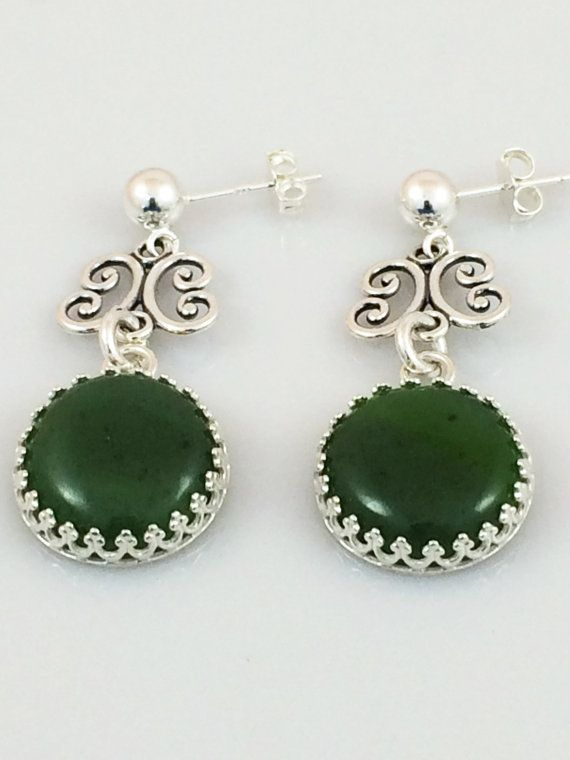 Green Jade and Silver Earrings on Silver Post Earring Studs $50 USD Only 1 available  #jadeearrings #silverpostearrings #greenjadeearrings #giftforher #jadejewelry