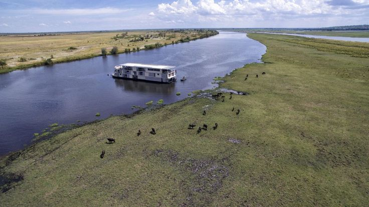 Moored in the Chobe River on the #ZambeziQueen.
