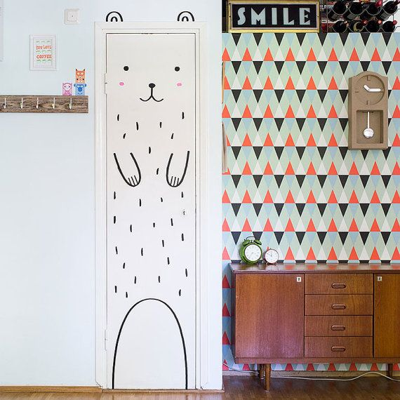 Haru le décalque Happy ours porte / Wall decal par MadeofSundays