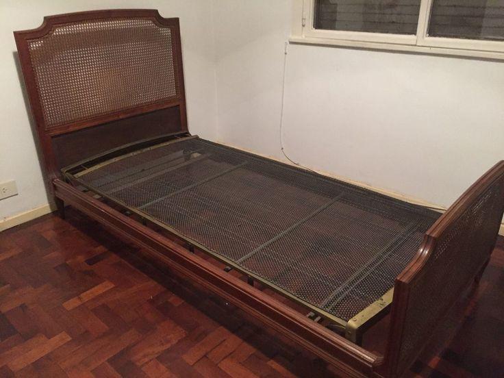 cama luis xvi, 1 plaza, respaldos esterillados