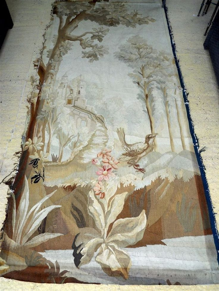AUBUSSON TAPESTRY ANTIQUE FRENCH 19TH-CENTURY   CHATEAU BORDEAUX BIRD