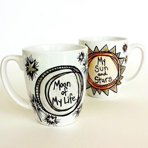 Moon of my life and My Sun and Stars mug set hand painted in metallic gold and silver. Available for custom order on my website Sewzinski.com or contact me here. I can add chosen names to the back of each mug. They arrive in gift box with ribbon.