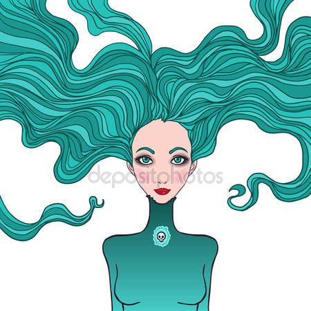 Скачать - Иллюстрация астрологический знак Скорпиона как красивая девушка — стоковая иллюстрация #38092479