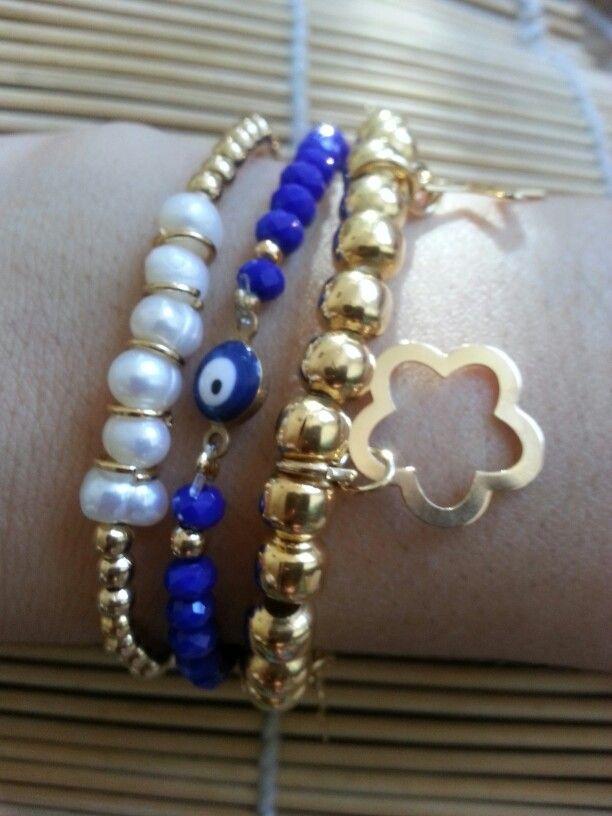 Pulseras cristal, perla de rio y chapa de oro