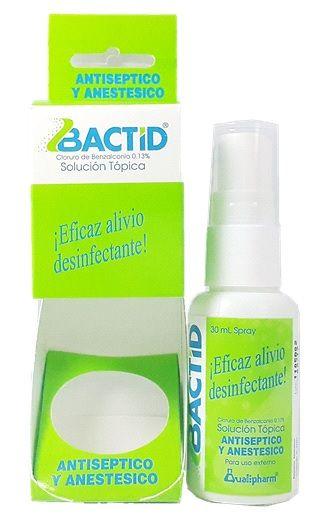 Bactid Spray 30ml - Es un antiséptico y anestésico de acción rápida y efectiva contra los gérmenes que pueden producir infecciones.