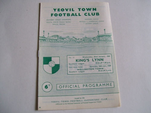 Away to Yeovil Town   22.1.1969   Southern League