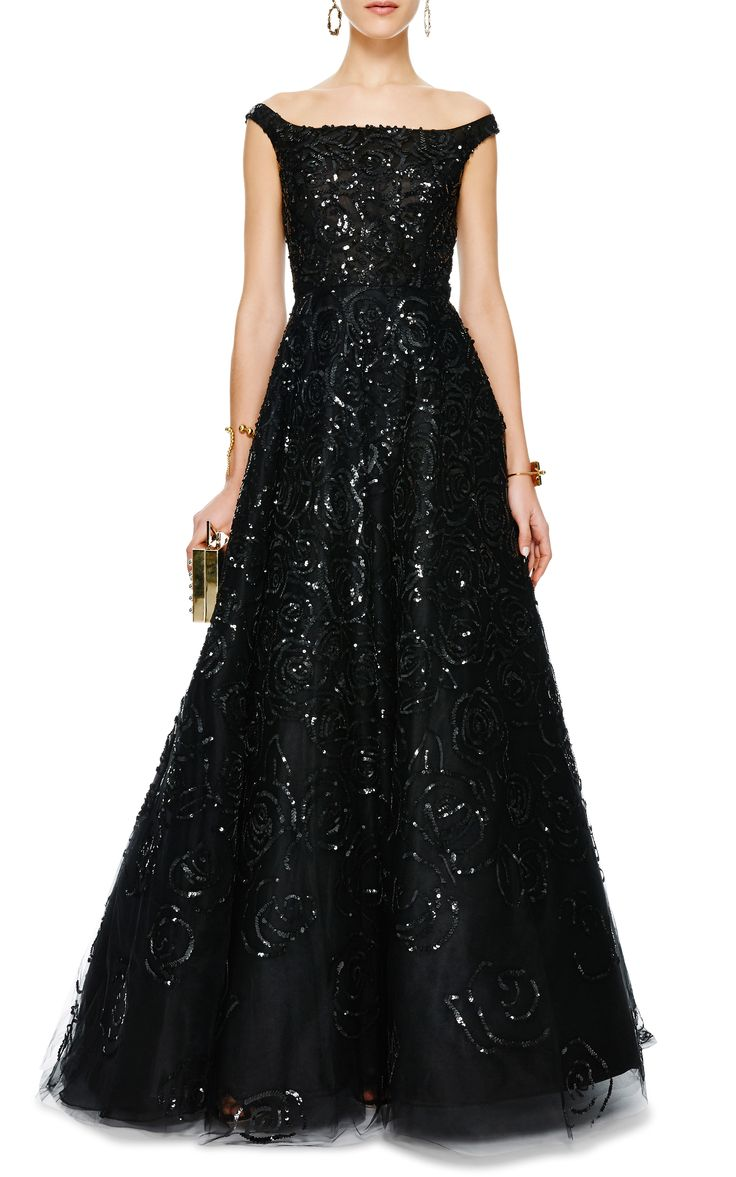 Sequined Off-the-Shoulder Tulle Gown by Oscar de la Renta - Moda Operandi