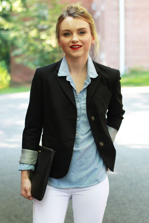 Poor Little It Girl - Gap Black Blazer, Abercrombie Fitch Chambray Shirt, James Jeans White Denim and ZARA Nude Ankle Strap Heels