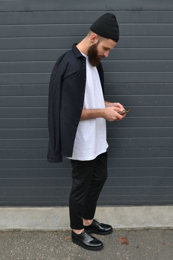 Acne studios beanie Sandro shirt AMI trousers Grenson shoes