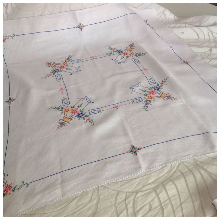 Vintage White Linen Tablecloth, Embroidered Cross Stitch, Multicoloured Floral Posy Basket, Approx. 85cm x 82cm by BoBisBitsofVintage on Etsy