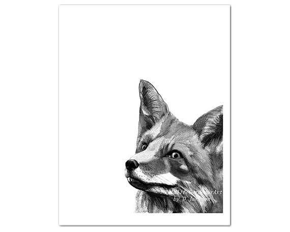 Black and White Fox Watercolor Art Print, Monochromatic ...