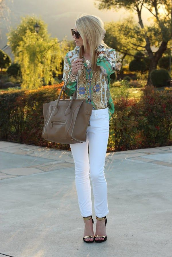 : Shoes, White Skinny, Fashion, Style, Celine Bags, Tory Burch, White Pants, Spring Outfit, White Jeans
