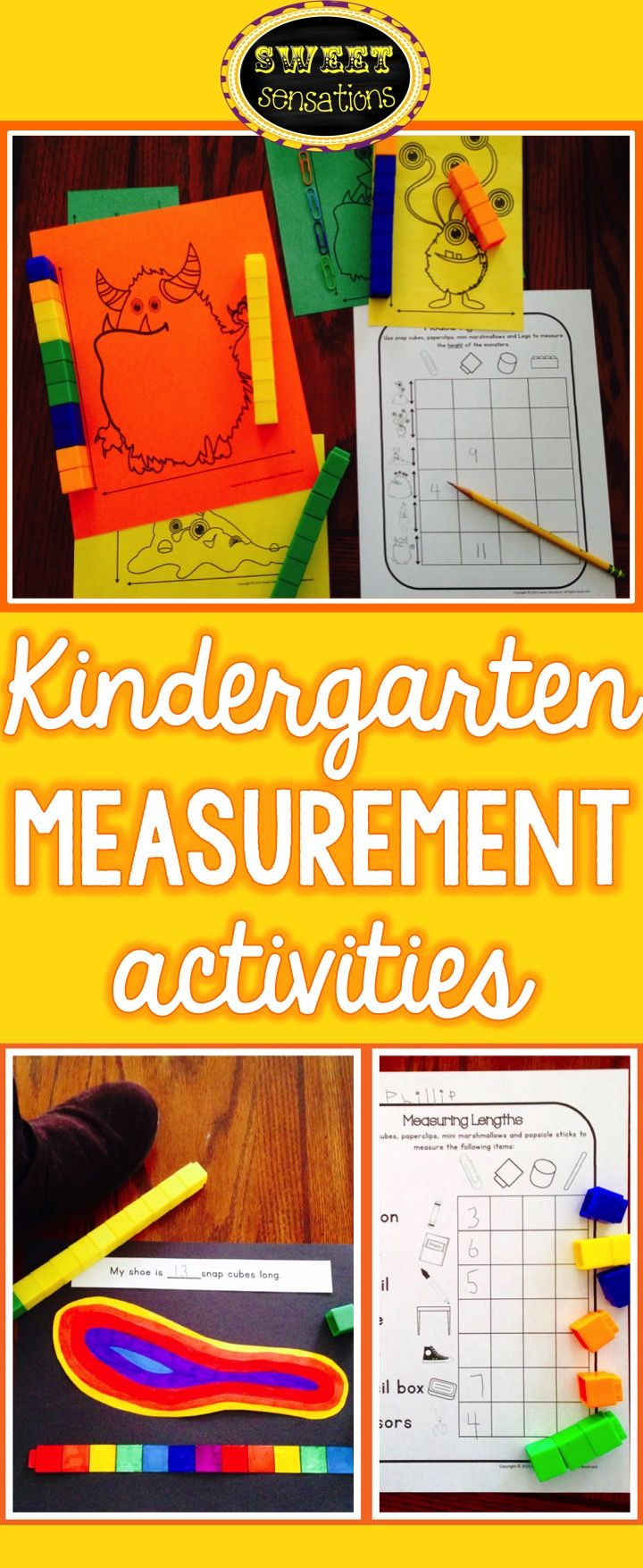Use to supplement teaching of measurement to kindergarten.  Includes 4 'Why do we measure?' 'What can we measure?' sheets; 7 Length sheets; 4 measuring shoe length sheets; 6 'Measuring Monsters' math station sheets; 4 Weight sheets; 3 Capacity/Volume sheets $7.00
