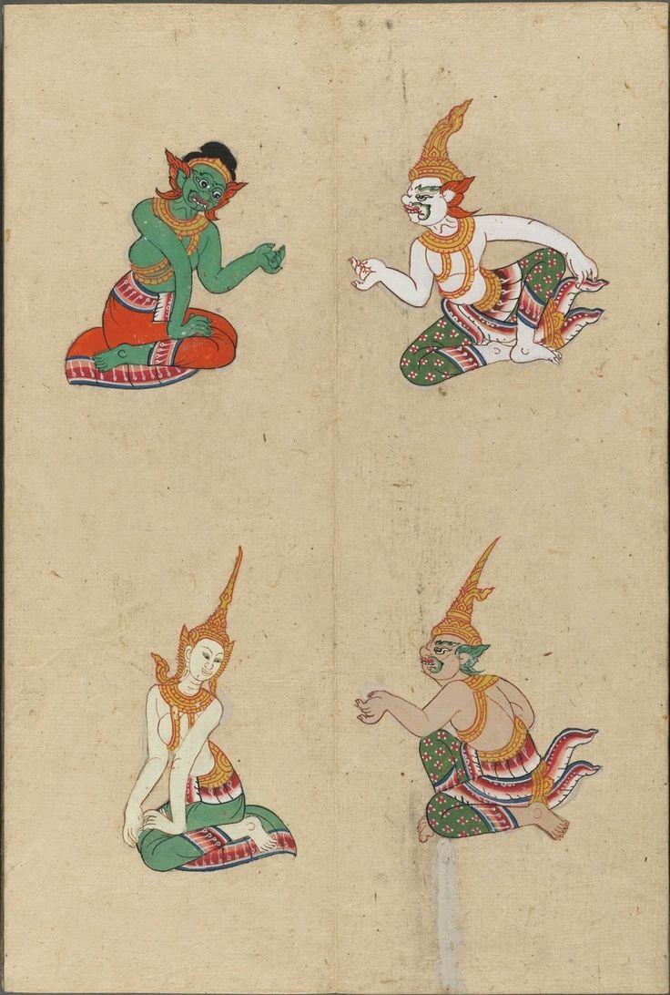 colour painted illustration of mythological gods and devils