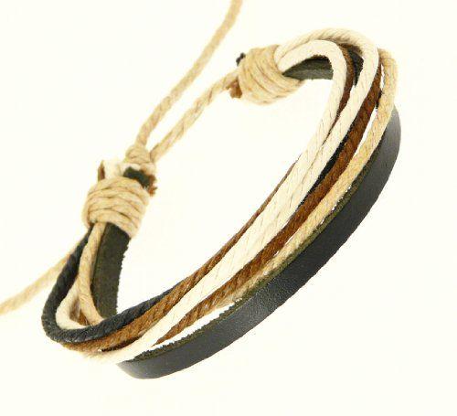 Neptune Giftware Mens Black Leather Strap & Coloured Cords Leather Bracelet / Leather Wristband / Surf Bracelet - 84