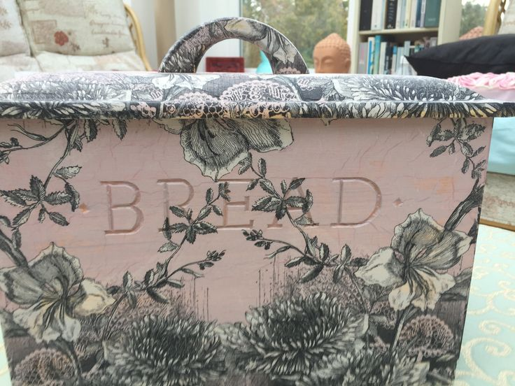 Solid Wood Bread bin, decoupaged by Peppershells Vintage, for sale on Etsy.