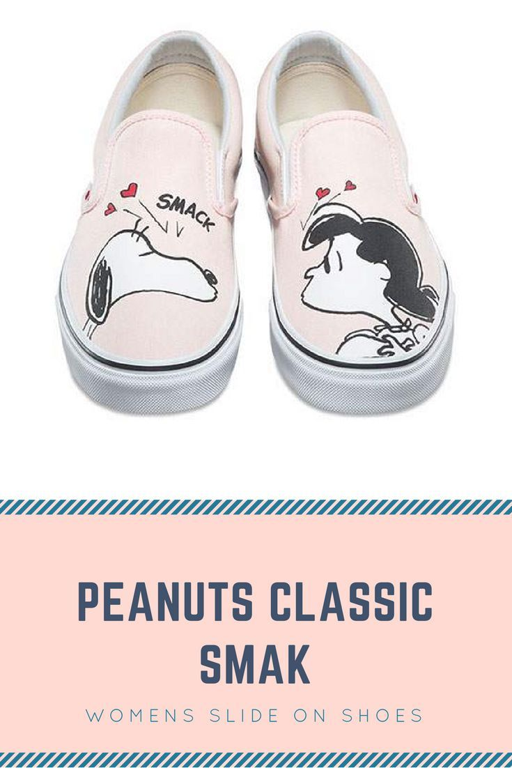 bfe47c22d24260 Slide on shoes have low profile with elastic on the sides. The classic  peanuts sealed with a kiss Lucy and Snoopy printed on canvas. Adorable  shoes!