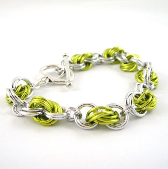 Chainmail Bracelet Love Knots Green Silver by HCJewelrybyRose, $23.00
