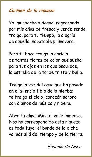 Poema de Eugenio de Nora (Carmen de la riqueza), autor de la Literatura Contemporánea.