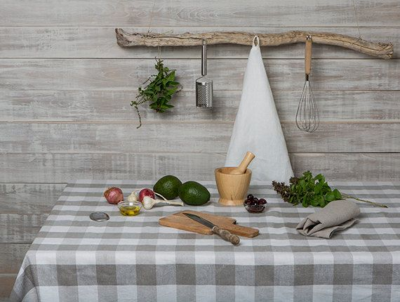 Linen tablecloth  Check Linen Tablecloth-Dining by LinenHomeDecor
