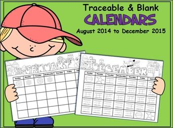 This monthly calendar set includes both blank and traceable templates for your students.  Includes all the months from August 2014 to December 2015, and I plan to update it yearly.  PreK and Kindergarten students will enjoy creating their own calendars using the traceable templates.