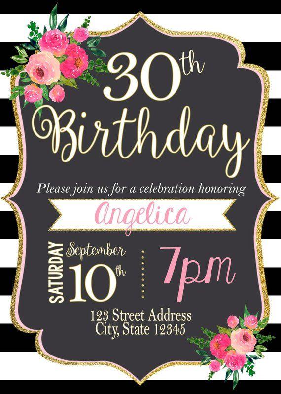 Black White Striped Birthday Invitation Stripes Pink Black And