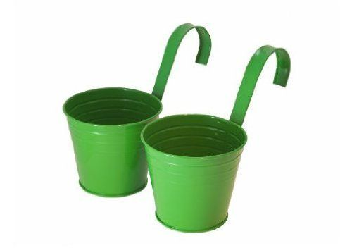 Master Craft Hanging Basket Bucket Planters, Set of 2 by Master Craft. Save 12 Off!. $15.83. Can hold up to 11-pound. Measures 6-5/8-inch diameter by 6-inch high. Set of two hanging bucket basket planters. Can hook over rails, fences or walls. These set of two green metal hanging bucket baskets from master craft add decorative interest to any deck rail, fence or wall up to 3-1/4-inch thick. Each planter has a drainage hole at the bottom and comes with a 7-inch long matching metal hanger...