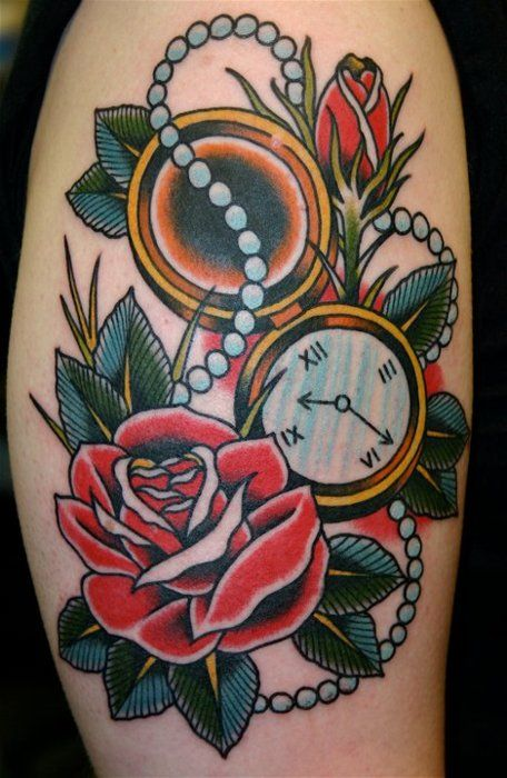 old school rose tattoo with pocket watch and pearl necklace tattoos traditional. Black Bedroom Furniture Sets. Home Design Ideas