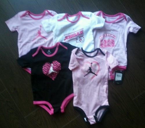 14e57bc5a7f5 Nike Air Jordan Baby Girl Pink Bodysuit Romper Outfit 5pc Set 9-12 M ~NWT   5