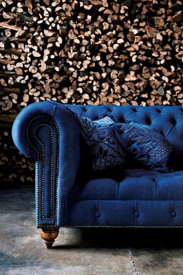 Indigo blue velvet Chesterfield couch
