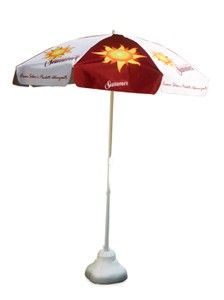 Advertising beach/patio umbrella for your outdoor communication. Fully customizable.