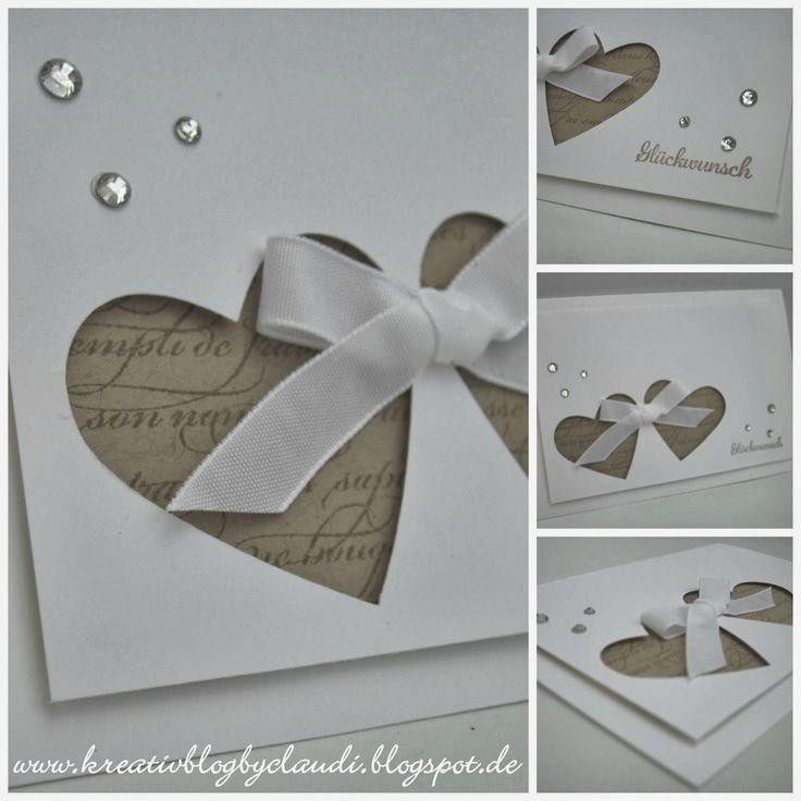 """Mein heutiger Beitrag ist für ein Brautpaar, das im Oktober seinen großen Tag feiert.  """"Zwei Herzen in Liebe verbunden"""", mit einbisschen..."""