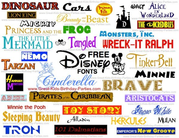 FREE Disney Fonts! Make your own party invitations, party labels and more for your next Disney party! Just download and use, easy!