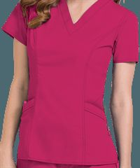 Peaches Scrubs Paige V-Neck Top / Color: Pomegranate / Style # P4178 / Original Price: $23.99 / Sale Colors from $19.99 to $21.99