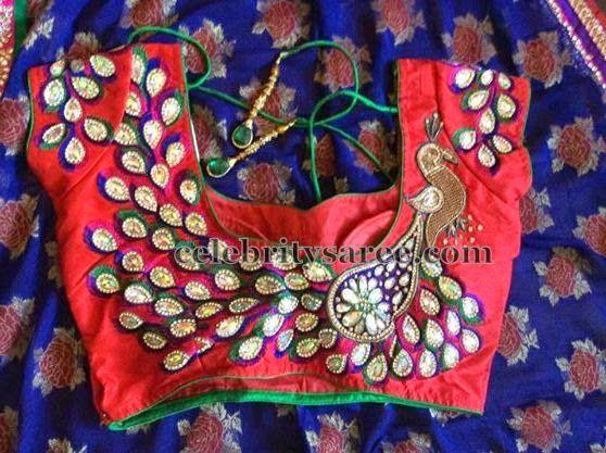 Dancing Peacock Embellished Blouse | Saree Blouse Patterns