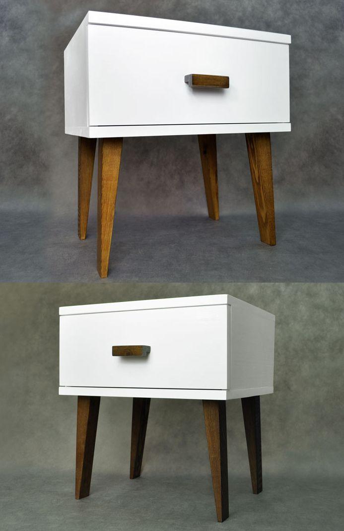 Ap15 Bedside Table Oak Or Walnut, White Solid Wood Bedroom Furniture Uk