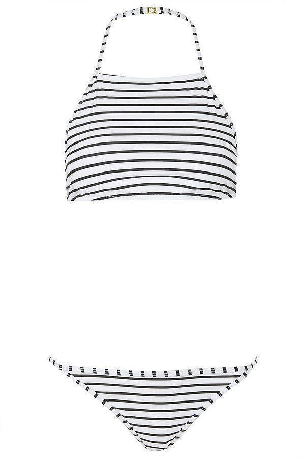 The best Summer swimsuits under $100: Topshop Striped high neck bikini set ($52)