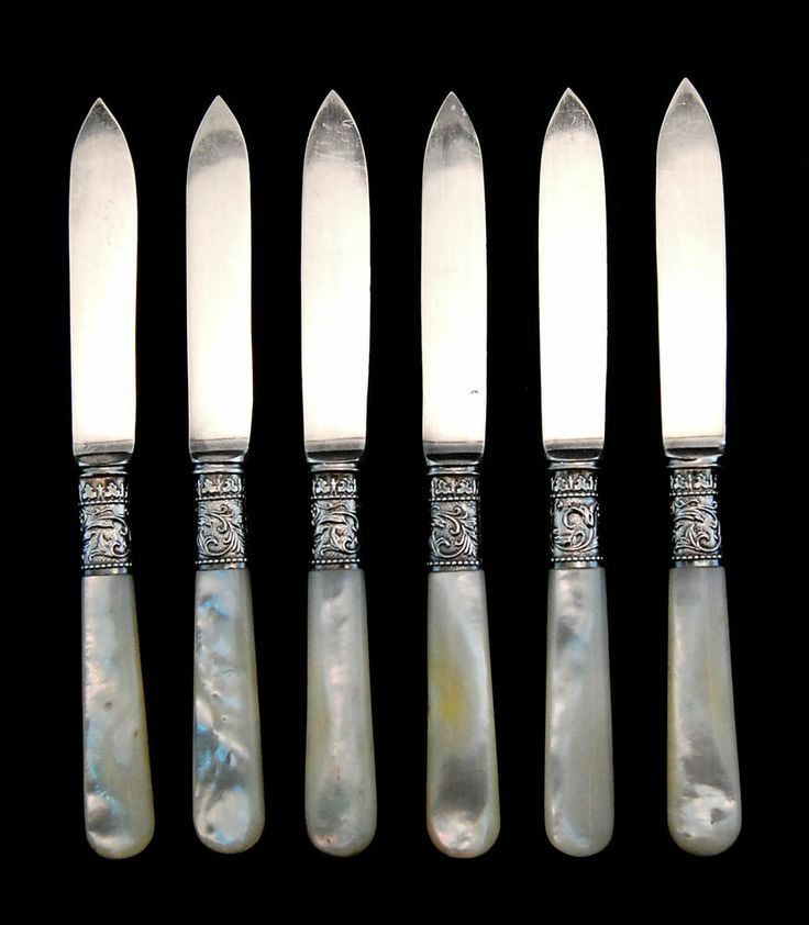Set of 6 mother of pearl handle fruit knives w sterling - Pearl handled flatware ...
