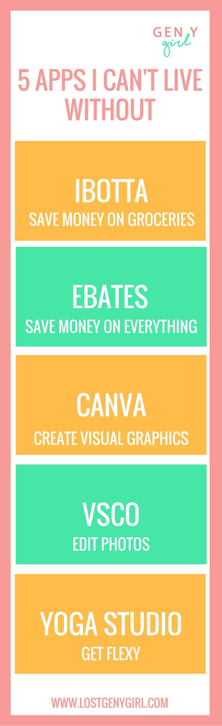My all time favorite apps that'll help you save money, create visual graphics, edit photos, and get some yoga in!